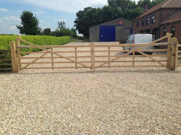 automated domestic wooden 5 bar swing gates